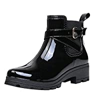 Ankle Rain Boots Women Ladies Fashion Glossy Waterproof Wellington Wellies Boots with Buckle Strap Mid Low Block Heel Chelsea Water Boots