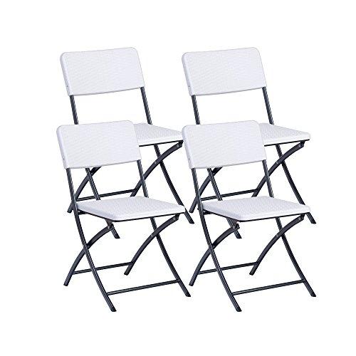 Resol Easy Rattan - Set de 4 sillas plegables, plástico, 54 x 44.50 x 80.50 cm, color blanco