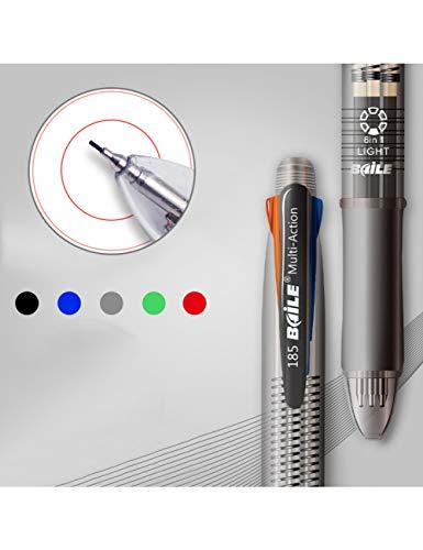 HHHHW 2 Stücke / 5 In 1 Kugelschreiber 4 Farben Kugelschreiber 1 Automatische Bleistift Multicolor Mit Radiergummi Kugelschreiber Für Schule Bürobedarf Schreibwaren