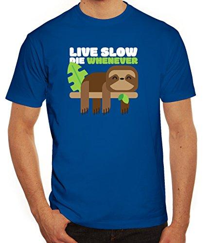 Faultier Herren T-Shirt mit Live Slow Die Whenever Motiv von ShirtStreet Royal Blau