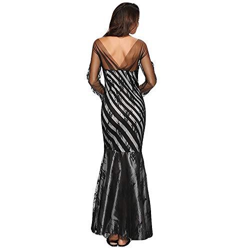 (Oyedens Damenmode Druck Trägerlos Spitze Abendkleid Patchwork Party Lang Maxi Cocktailkleid Frauen Print Langarm Stitching Wrap Sexy Dress Kleid)