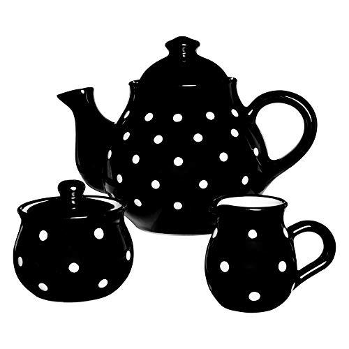 City to Cottage - Juego de Tetera de cerámica de 1,7l/60oz/4-6 Tazas, diseño de Lunares, Color Blanco y Negro
