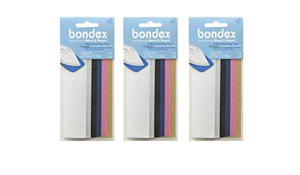 3.175cm x 17.78cm Bondex Mend And Repair with No Sew Iron-On Patch Fabric Mending Tape 1.25x7 Pink Tan 3 Pack White Black 6pc Beige Navy
