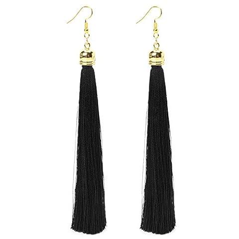 Dairyshop 1 Paar Weinlese -lange Troddel baumeln Ohrringe Thema Fringe-Tropfen-Ohrring für Frauen