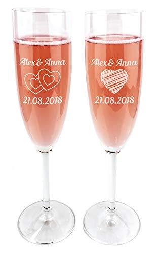 Geschenkfreude Leonardo Sektgläser mit Gravur als Hochzeitsgeschenke für Brautpaar mit individueller Namens- und Datumsgravur - 2 Stück