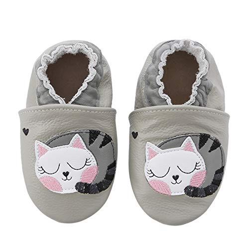KOSHINE Weiches Leder Krabbelschuhe Baby Schuhe Kinder Lauflernschuhe Hausschuhe 0-3 Jahre (12-18 Monate, Kitty)