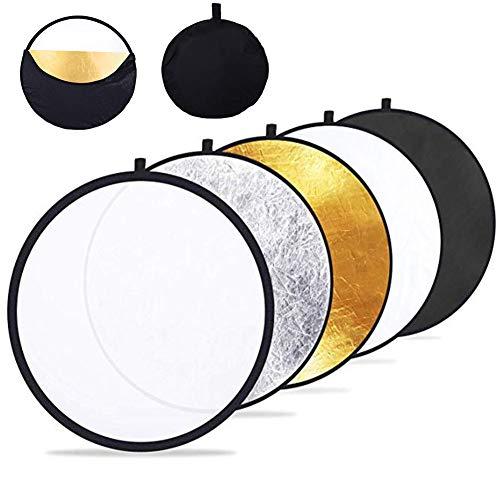 RANRANHOME (60 cm) 5-in-1-tragbare zusammenklappbare Multi-Disc-Fotografie-Licht-Foto-Reflektor für Studio/Außenbeleuchtung mit Tasche (Fotografie Außenbeleuchtung)