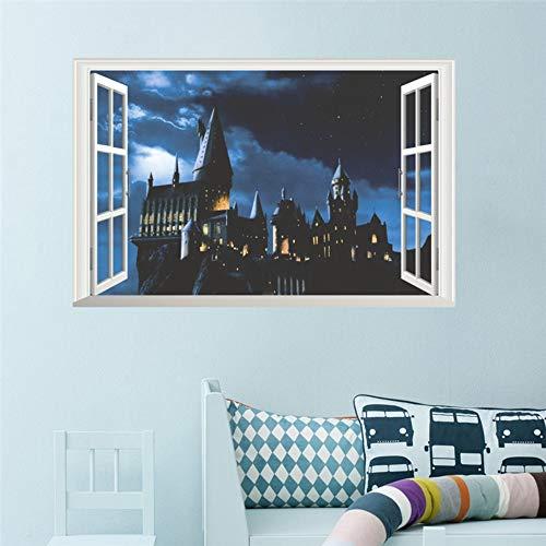 41t%2BtRhg6aL - 3d ventana castillo etiqueta de la pared decal harry potter pvc tatuajes de pared cartel mural arte decoración para el hogar