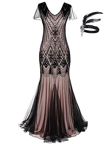 Generic Damen 1920S Retro Pailletten Formalen Lange Mund Kleid Great Gatsby Cocktail Party Abendkleid ... (Pink Black, 2XL) (Kleider Große Gatsby-kurze)