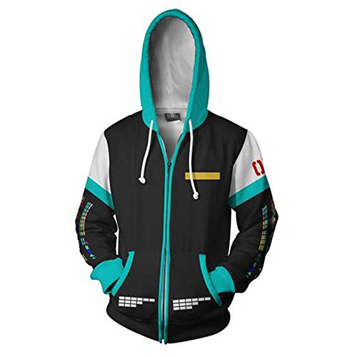BchYu Men Women 3D Print Pullover Hooded Sweatshirt Unisex Cosplay Anime Casual Tops Polyester/Cotton Soft Breathable Hatsune Miku  Zipper M