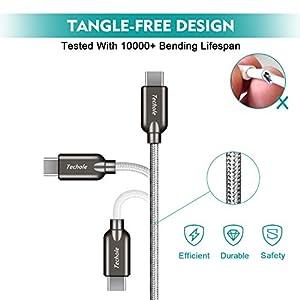 Cable USB C, Techole Cable Tipo C a USB 3.0 de Nylón (1m & 0.15m, 2 Pack), Carga Rapida y Sincronización para Samsung S8/S8+/S9, Note 8, Huawei P9/P10, Google Pixel, Nexus 5X/6P, OnePlus 2/3T – Gris