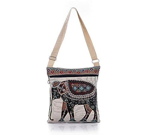 Bohemian Owl / Elephant Embroidered Pattern Shoulder Bag Crossbody Bag Messenger Shopping Bag (Elephant)