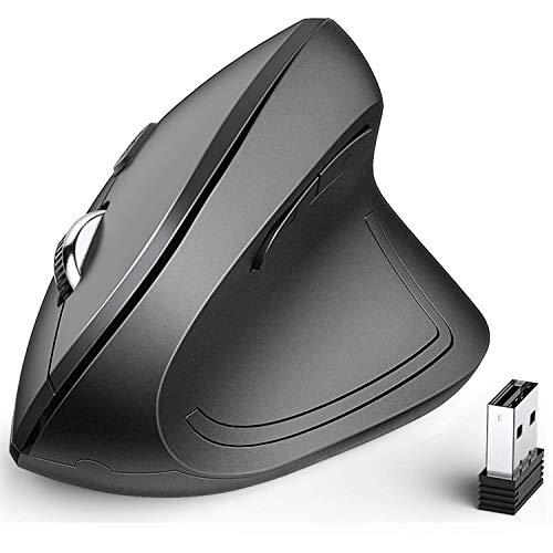 iclever Vertikale Maus Ergonomische kabellose Maus mit 6 Tasten und 4 unterschiedlichen DPI-Zahlen: 1000/1600/2000/2400 DPI für Laptop, Computer, Desktop, Mac, Windows, MacOS