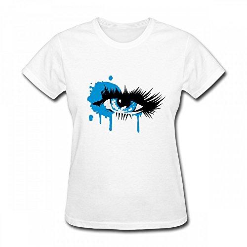 qingdaodeyangguo T Shirt For Women - Design A Colored Eye With Long Eyelashes Shirt White