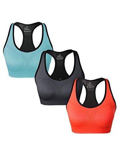 Match Damen Drahtloses Doppellagige Gepolsterte Racerback Sport-BH fuer Yoga Workout Gym #002 1 Paeckchen 3(Blau-B Orange-Grau)
