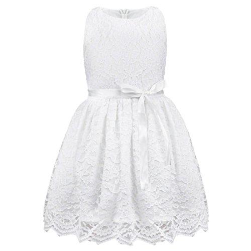 TiaoBug Baby Mädchen Kleid Blumenspitze Prinzessin Sommer Kleidung 80 86 92 98 104 110 128 134 140