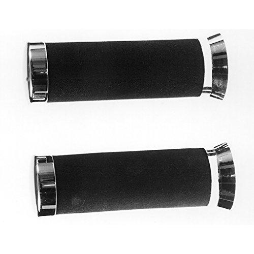 Poignées Moss en caoutchouc noir avec extrémités Chromé 22/22 135 mm en mousse Integral Vespa N 50 V5 a2t 70-72