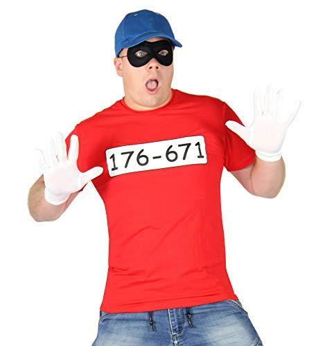 Foxxeo Bankräuber Kostüm für Herren mit - T-Shirt - Maske - Mütze und Handschuhen - Fasching und Karneval Kostüme für Paare, Größe:XXL