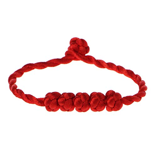 Xuniu Lucky Rope Strap, Chino Feng Shui Pulsera 5 anudadas Cuentas Red String Jewelry Red