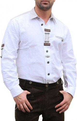 Trachtenhemd für Lederhosen mit Verzierung weiß, Hemdgröße:S