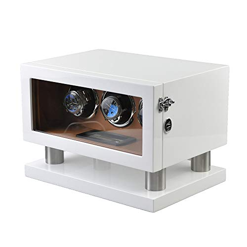 GUOSJ Uhrenbeweger für 3 Automatikuhren, Uhrenbox mit leisem Motor und 12 Rotationsmodi, LED-Hintergrundbeleuchtung und LCD-Display, White (Holz-finish Reparieren)