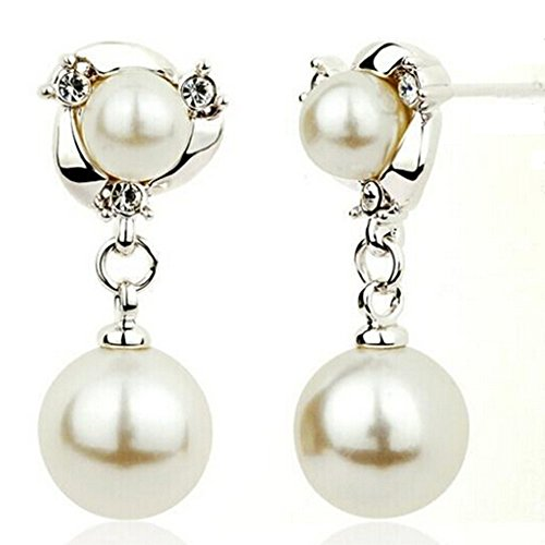 Spritech(TM) Women's Elegantly Jewelry Simulated Pearl and Crystal Drop Earrings Sliver by Spritech -