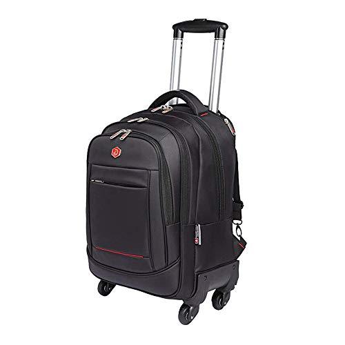YI KUI Valigia Trolley,Zaino con Ruote per Laptop per Uomo - Zaino per Grandi capacità e valigie per Bagagli a 4 Ruote, Carrello per valigie Nero per imbarco/Viaggi d'Affari,18inches