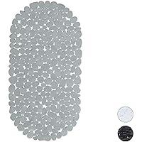 Relaxdays Badewanneneinlage Steinoptik, Antirutschmatte lang mit Saugnäpfen, Badeeinlage B x T: 66,5 x 34,5 cm, grau