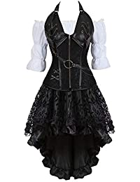 3ab2499f033 Korsett Kleid top 3-teiliger Anzug Corsagen sexy Steampunk Leder Bustier  corsagenkleid Rock Tutu Burlesque