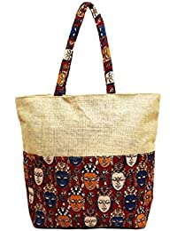 Kalamkari Multi-colored Jute Tote Bag For Girls/Women (Natural/Red)