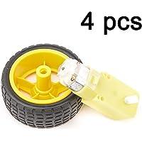 Gaoxing Tech. 4 set Arduino rueda de neumático de plástico con DC 3V 5V 6v motor de engranaje para Robot DIY Smart Robot de coche