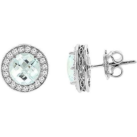 Con acquamarina, oro bianco 14 k Halo Orecchini con diamante Accent 3/(16