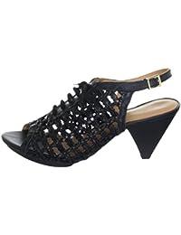 VIA UNO - Sandalias de vestir de Piel Lisa para mujer Negro negro