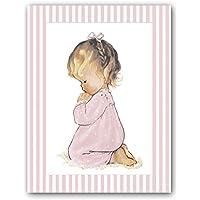 Carpeta M/édicos y Vacunas con dibujo ni/ña y greca de topito blanco sobre fondo rosa
