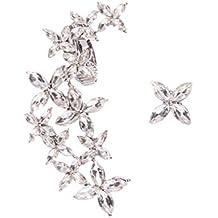 Happiness Boutique Damas Pendientes Ear Crawlers Flores en Plata | Pendientes Asimétricos Ear Cuffs con Diamantes de Imitación en Color Claro Libres de Níquel