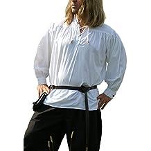 Mittelalter-Hemd, weiß aus Baumwolle von Battle-Merchant - LARP - Wikinger - Gothic - Piratenhemd