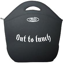 Borsa per Pranzo Porta Alimenti in Neoprene, Pranzo al Sacco, Borsa Termica Donna Uomo Bambini, Isolata, Fits Bento Box, Lunch Bag Tote (X-Large, Nera-OutToLunch)