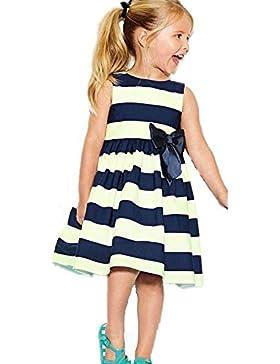 Culater® Niñas lindo raya del arco del verano de la princesa vestido