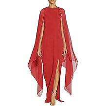 ALIKEEY Las Mujeres Vestido De Gasa Largo Abrigo Split Costura Vestido De Noche Larga Mujer Costura