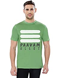 The Souled Store Paavam Alert Funny Printed Premium GREEN Cotton T-shirt for Men Women and Girls