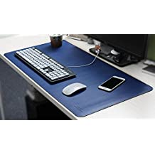 Hensych - alfombrilla grande de escritorio para ratón, impermeable, Superficie de piel sintética, suave y antideslizante, de dibujo y escritura, para ordenador, 900x 450x 12mm