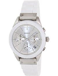 DKNY NY8579 mujeres blanco de la banda de silicona Dial de plata reloj cronógrafo