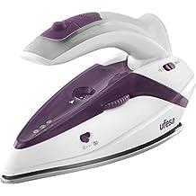 Ufesa PV0500 Activa - Plancha de vapor de viaje con mango plegable, 1.100 W máx, bivoltaje 110/230V, color blanco y violeta