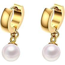 Vnox Cerchio ciondola gli orecchini in oro acciaio inossidabile 18K ha placcato La Madre piccola perla delle donne - Verde Del Pendente Del Quarzo