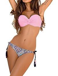 2018 Mujer Brasileño Bikini Push Up con Relleno - Anudadas Bandeau Tops de Bikini Y Tangas de Floral - Traje de Baño Bañadores de Dos Piezas