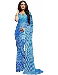 Miraan Women's Chiffon Saree With Blouse Piece (Ru2305Bblue_Blue)