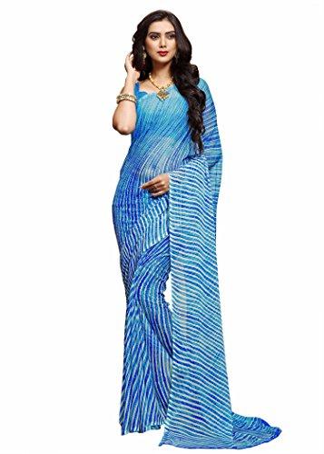 Miraan Women's Chiffon Saree With Blouse Piece (Ru2305Bblue_Blue)
