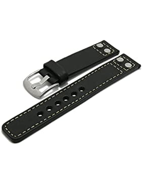 Meyhofer EASY-CLICK Uhrenarmband Elbing 24mm schwarz Leder glatt Nieten helle Naht My2pasl0004/24mm/schwarz/hN