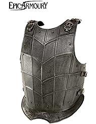 Medieval de pecho Dark Drake de acero Pecho harnisch de armadura Armadura tanque placa LARP Vikingo Medieval diferentes tamaños, negro, large