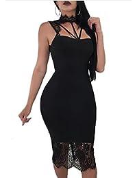 MYWY - Abito Donna Vestito Corto Tubino Aderente Elegante Dettaglio Pizzo  Scollo Sexy ed1512e79bf